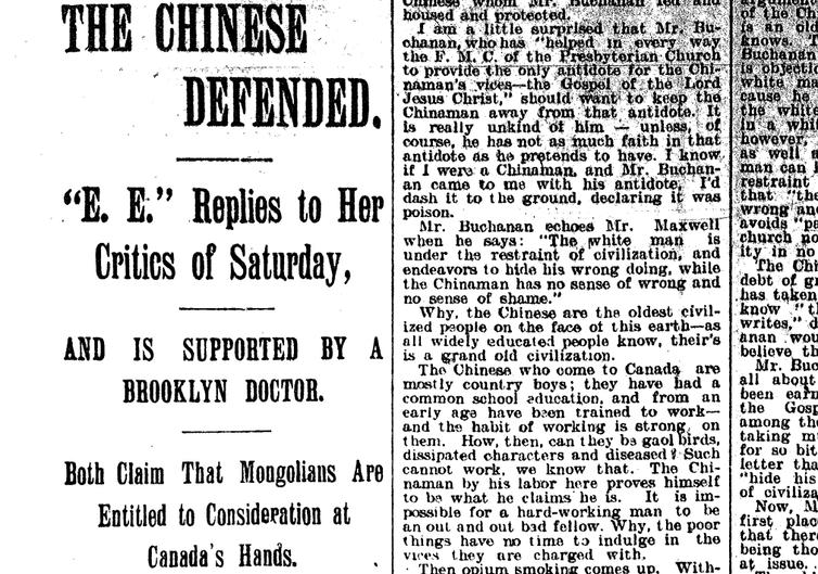 Article de journal de 1896intitulé «Les Chinois défendus»